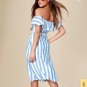 LULU'S-Sunny Days Striped Midi Dress